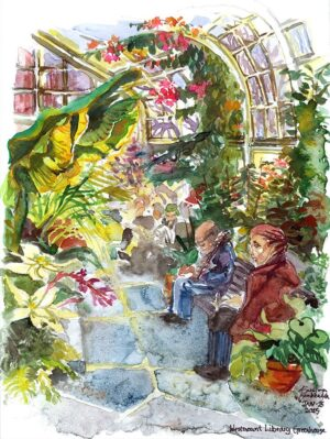 Westmount Library Greenhouse in Montreal watercolor painting