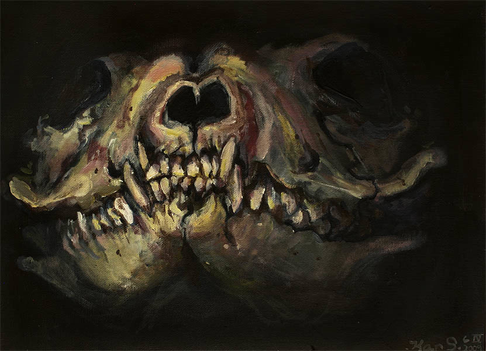 Original Art – Memory Study of Fox Skull
