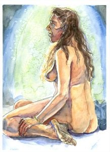 female sitting nude figure drawing watercolor