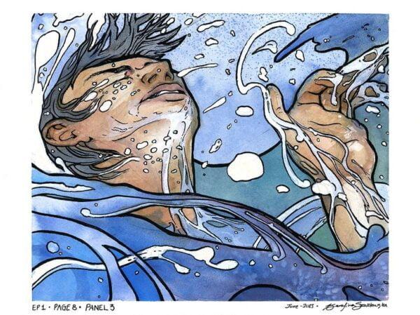 watercolor painting man drowning