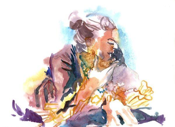 renaissance figure drawing Watercolor on watercolor paper
