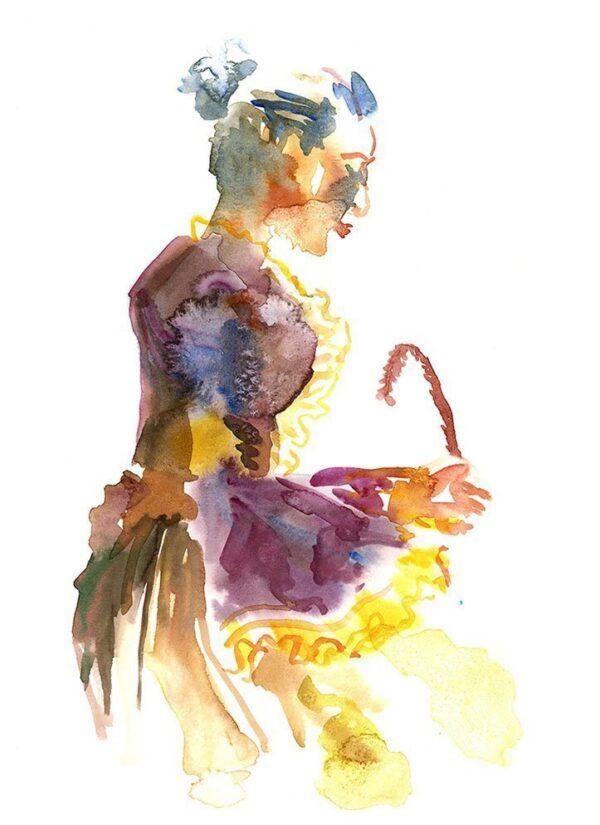woman writing figure painting by karolina szablewska