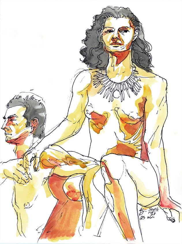orange figure drawing watercolor