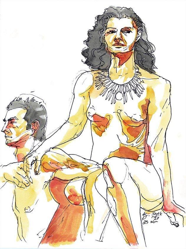 orange figure drawing watercolor