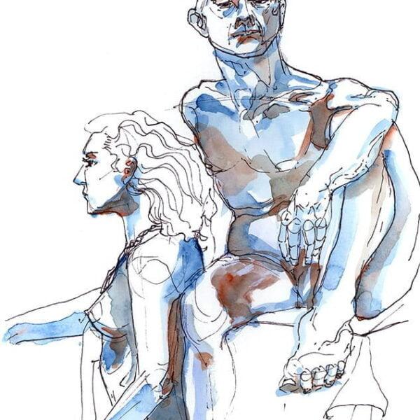 blue figure drawing watercolor