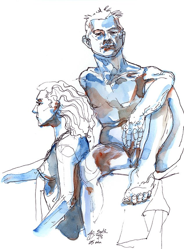 blue figure drawing watercolor