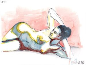 reclining female nude figure drawing watercolor