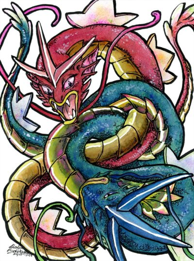 blue gyrados red gyrados pokemon watercolour