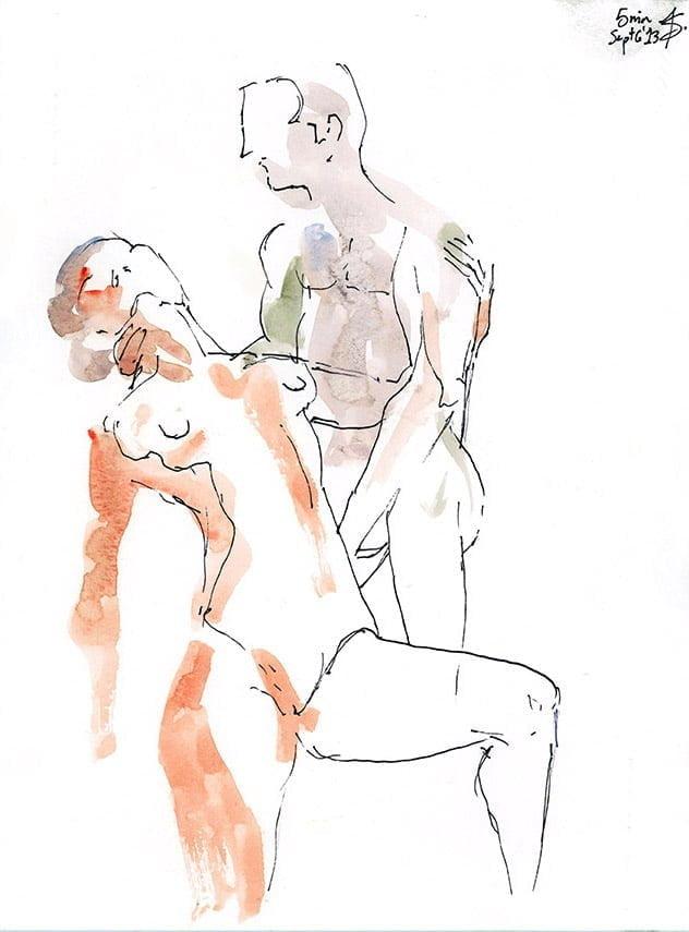 figure drawing watercolour