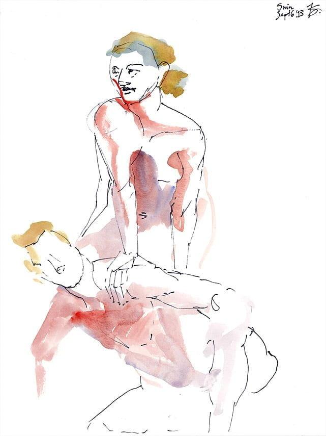 Original Art - Dual Pose Life Gesture Drawing 2 by Karolina Szablewska