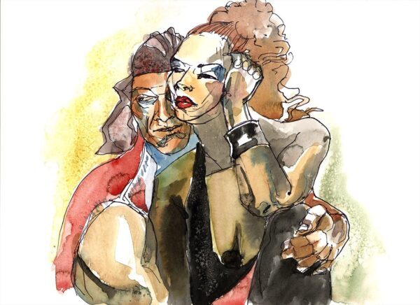 pirates figure drawing watercolor