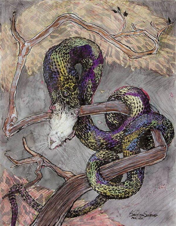 snake eating rat painting
