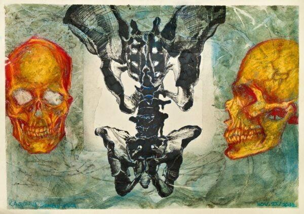 Original Art - Study of Skulls, Hips, and Spines by Karolina Szablewska