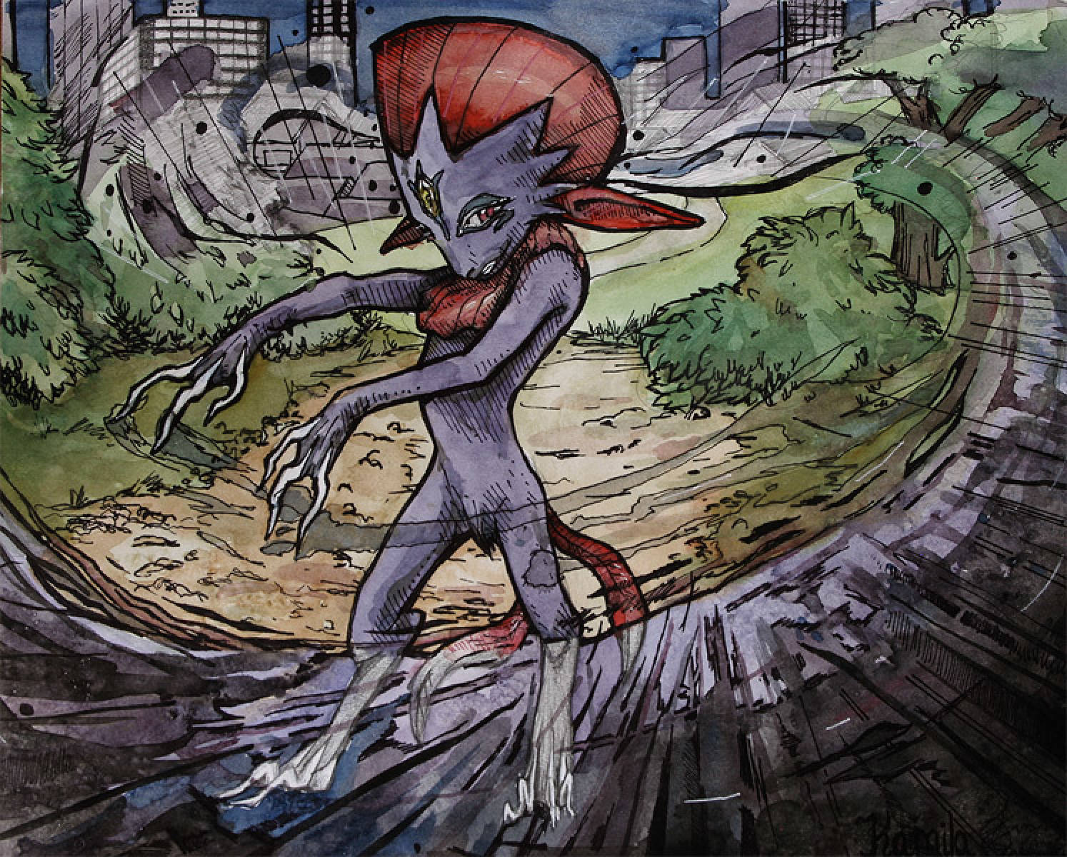Original Art – Weavile using Dark Pulse