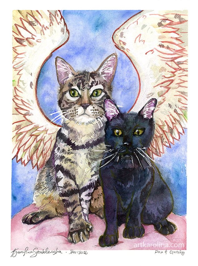 pet portrait cat watercolor painting