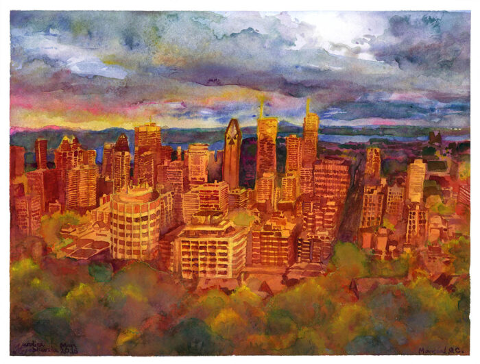 montreal from mont royal watercolor painting
