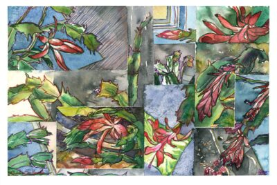 Christmas cactus collage watercolor painting