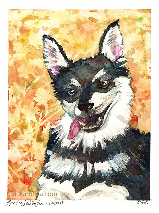 eska watercolour pet portrait dog painting