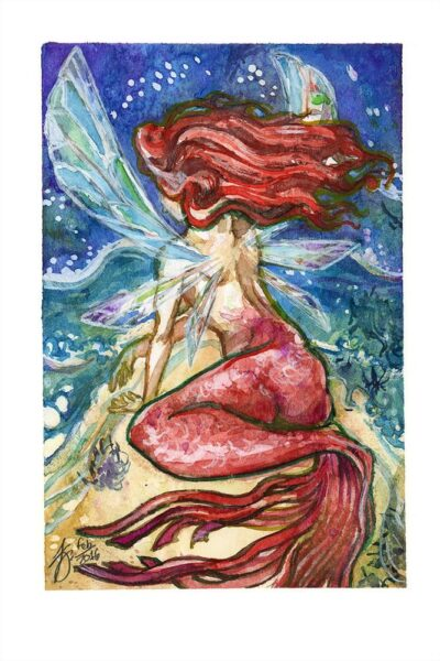 fairy mermaid watercolor painting