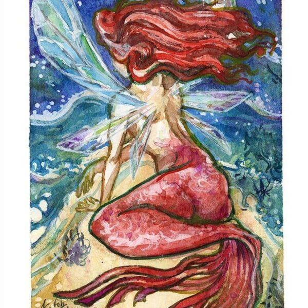 fairy mermaid watercolor painting