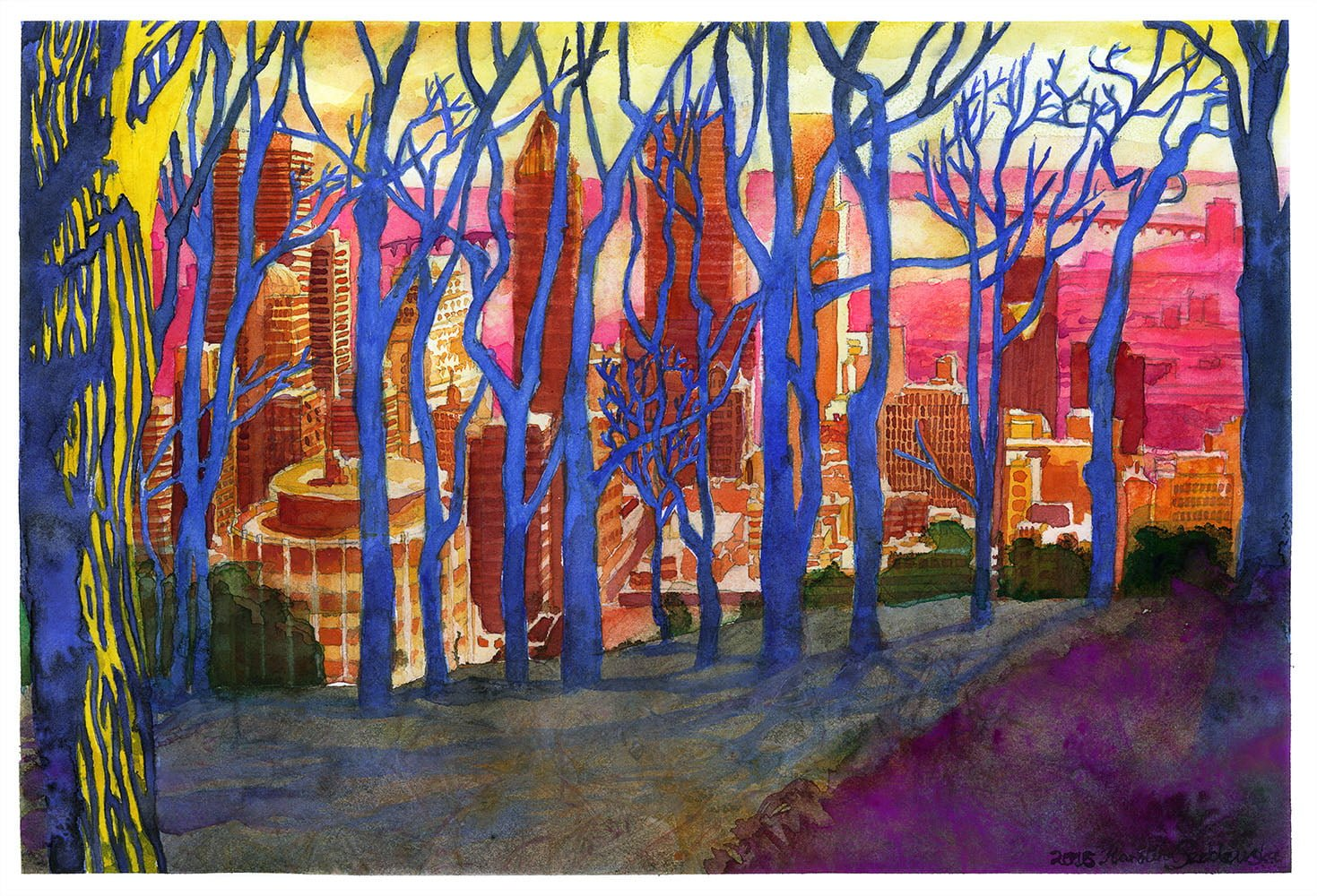 Original Art – Montreal from Mont Royal Through Winter Trees