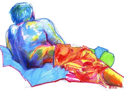 man reclining figure drawing colourful