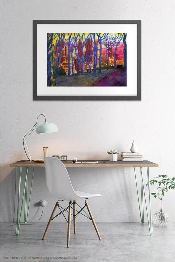 Mont Royal Winter Trees Watercolor Painting by Karolina Szablewska - Home Office Wall Art
