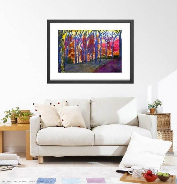 Mont Royal Winter Trees Watercolor Painting by Karolina Szablewska - White Living Room Wall Art
