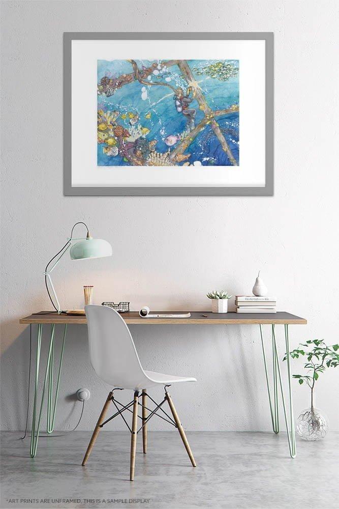 Ocean Art Prints - Coral Reef / Clown Fish / Starfish / Dive Welding - Whimsical Watercolor Painting by Karolina Szablewska