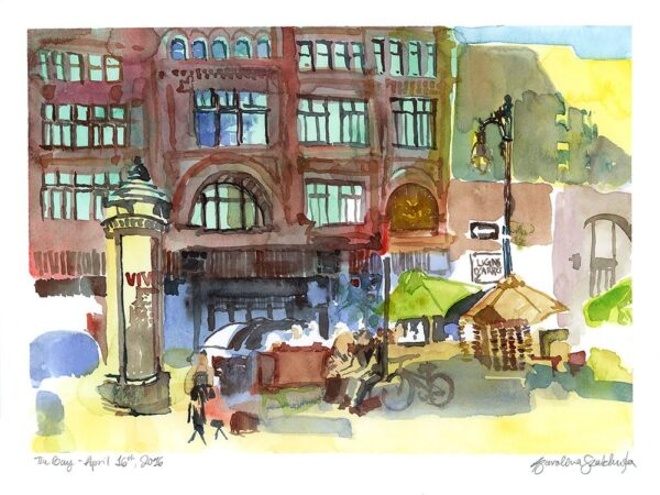 the hudson bay company montreal watercolor painting