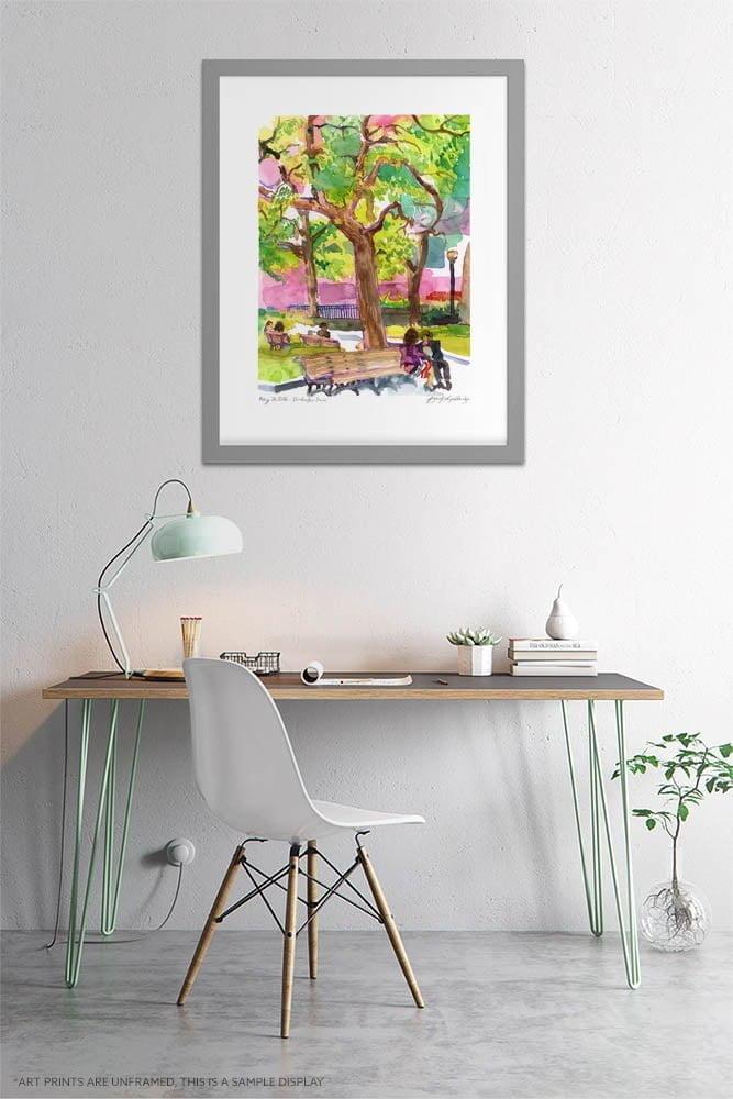 Dorchester Park Watercolor Painting by Karolina Szablewska - Home Office Wall Art