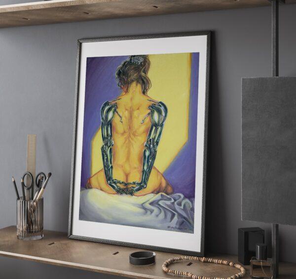 Cyborg Art Prints - Heavy Shoulders in Sunset, Oil Painting / Female Robot Art / Cyborg Wall Art / Transhumanism by Karolina Szablewska