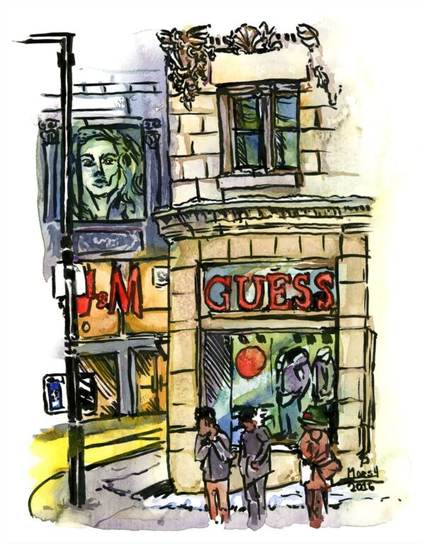guess downtown montreal watercolor drawing
