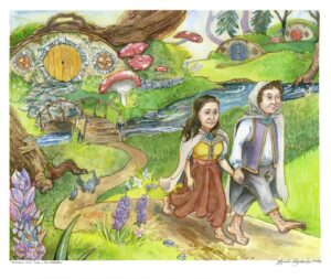 hobbits walking through the wood from hobbit house watercolor painting