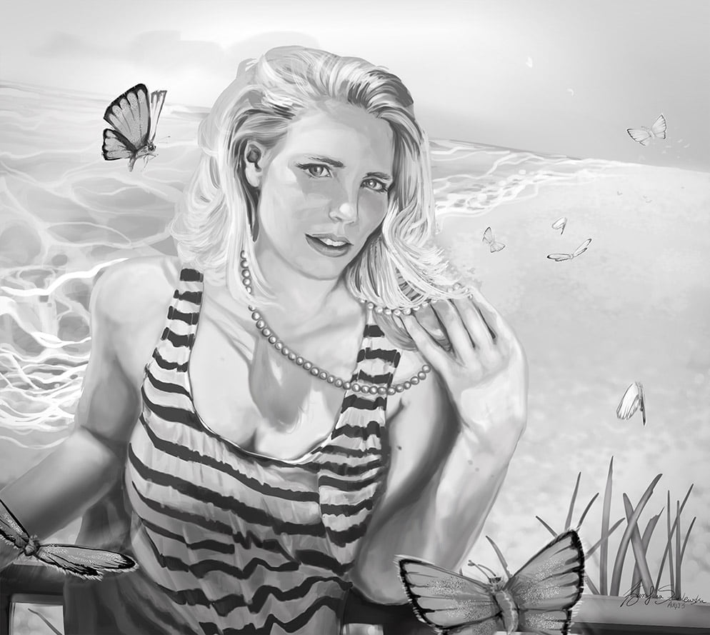 girl on beach digital painting