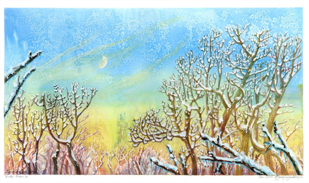 ink tree sunset in winter painting