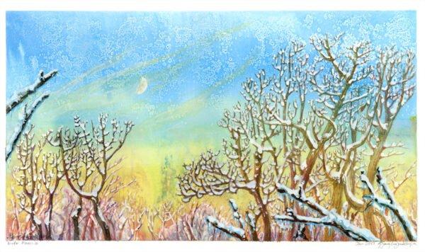 winter moon painting in mixed media by karolina szablewska