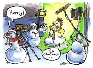snowman melting watercolour comic panel