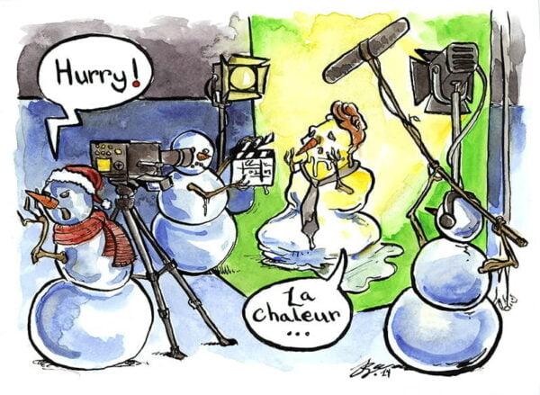 snowman melting watercolour comic panel