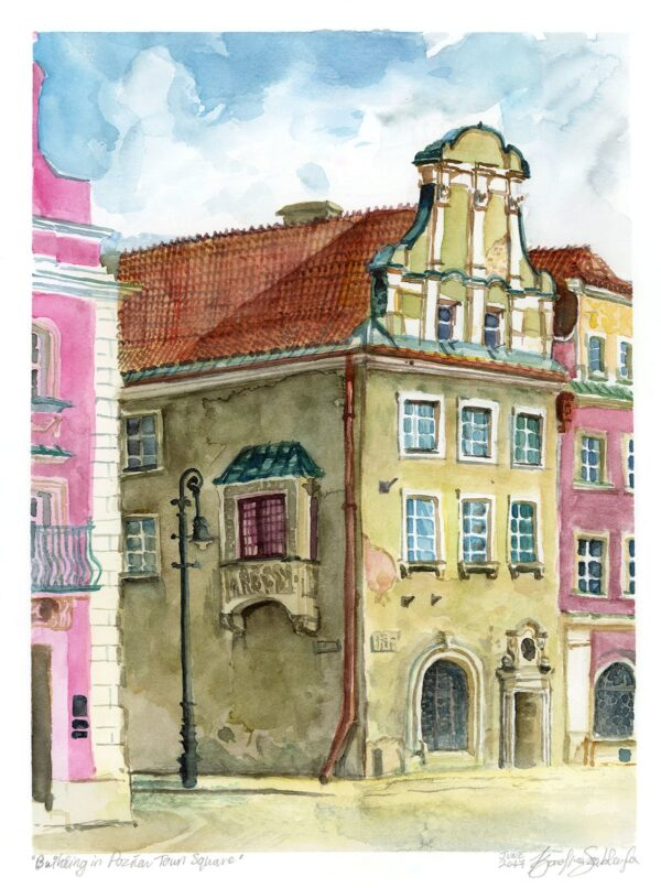 Poznań town square watercolor painting