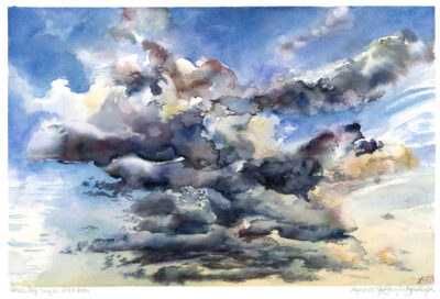 clouds in sky sunset verdun watercolor painting