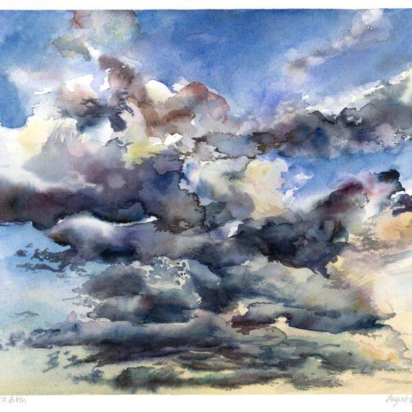 clouds in sky sunset verdun watercolor painting
