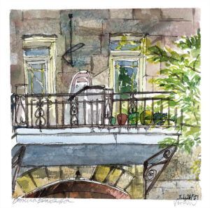 wellington street balcony watercolor en plein air painting