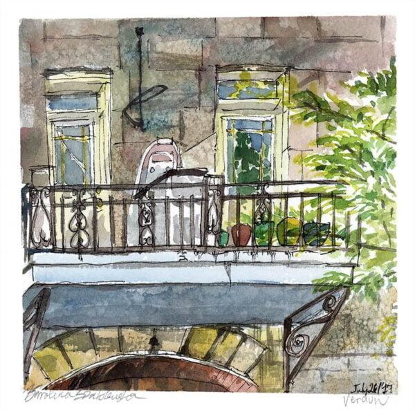 wellington street balcony watercolor en plein air painting