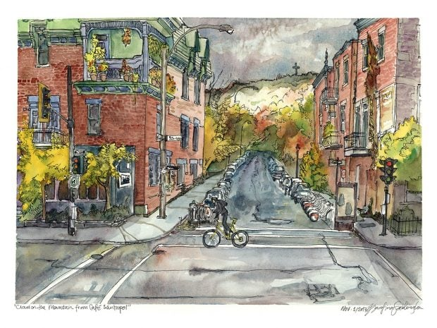 cloudy rainy day cafe santropol montreal watercolor painting