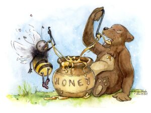 bear and bee eating honey together watercolor painting