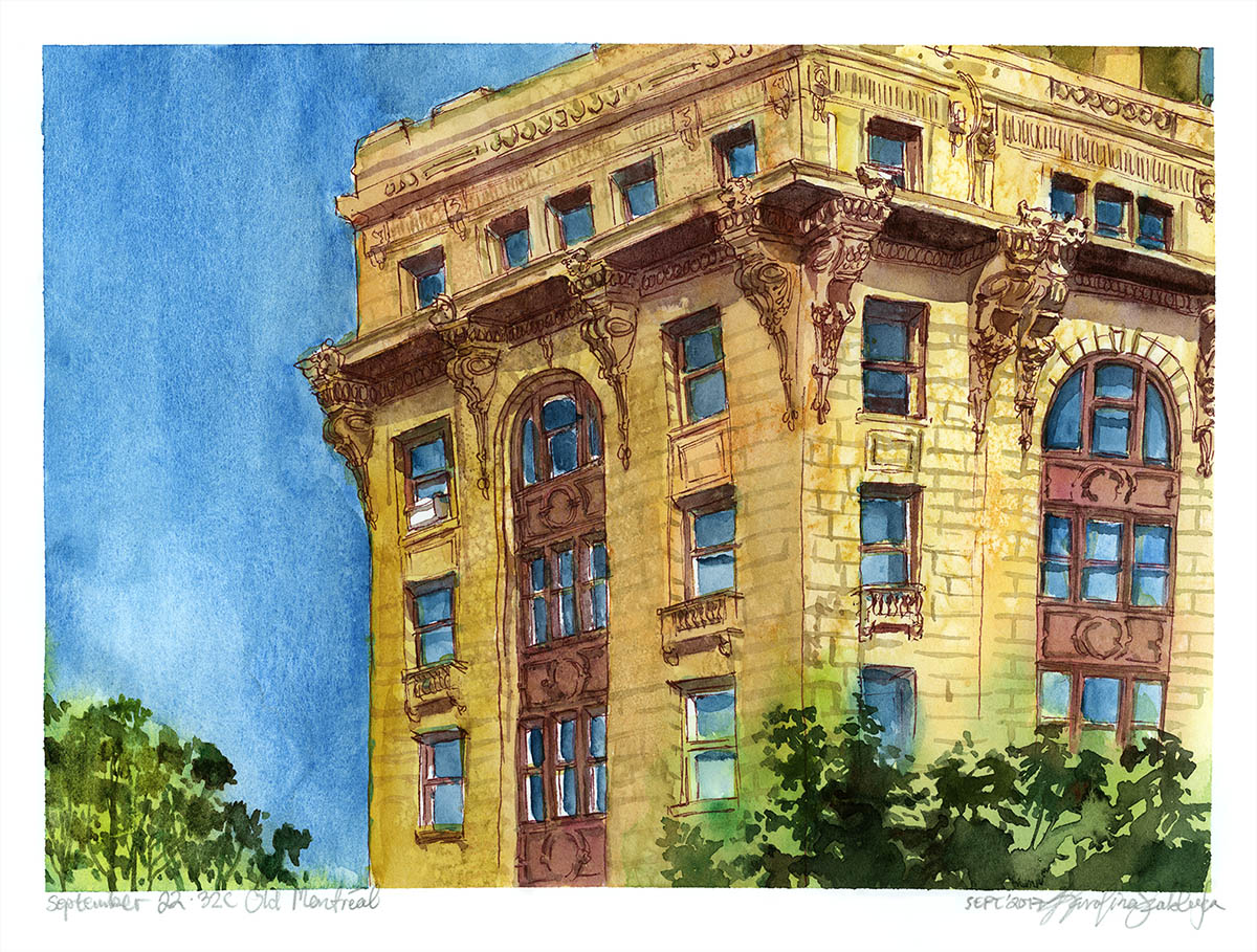 yellow glowing old building in old montreal watercolor painting