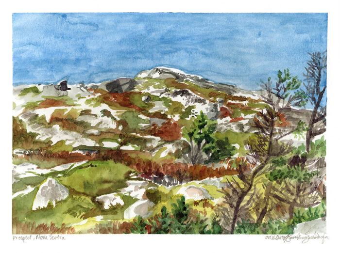 rock at prospect nova scotia watercolor painting
