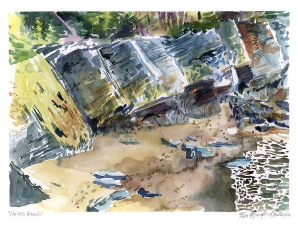 hirtle's beach nova scotia watercolor en plein air painting