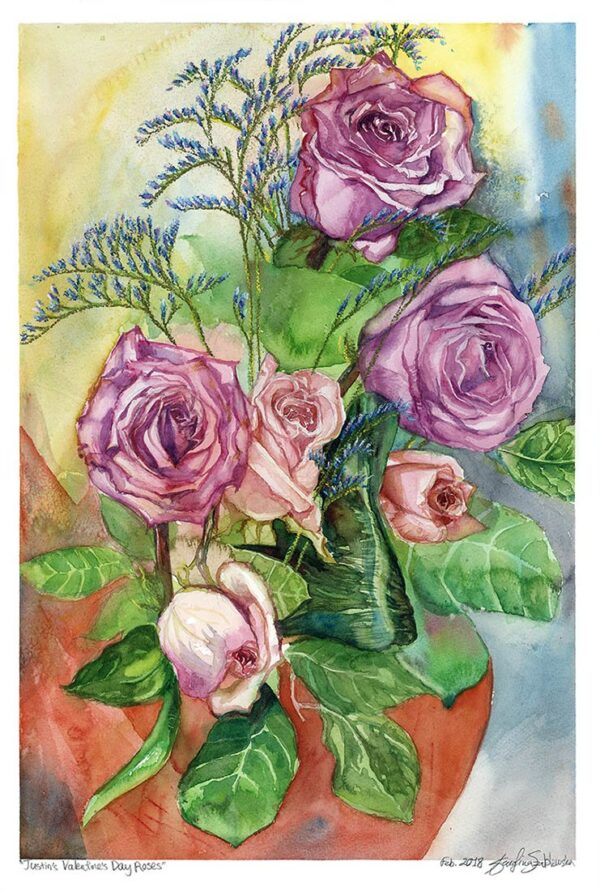 valentine's day roses still life painting